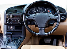 Steering wheel in console car Royalty Free Stock Photography