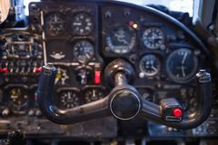 Steering wheel control aircraft and dashboard. Steering wheel control aircraft against the background of a blurry dashboard Stock Images