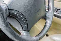 Steering wheel control in car Royalty Free Stock Photo