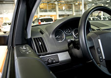 Steering wheel and dashboard Stock Photo