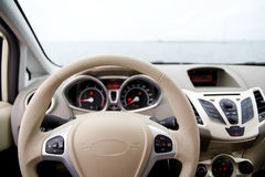Steering wheel and dashboard. Of a car Royalty Free Stock Photos