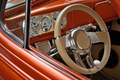 Steering wheel and dashboard of American car Royalty Free Stock Image