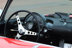 Steering wheel and dashboard of car closeup Stock Photography