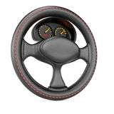 Steering wheel and dashboard Stock Photos