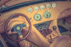 Steering wheel and dashboard - retro and vintage style Royalty Free Stock Photo