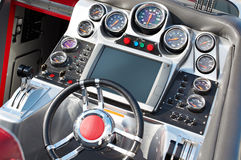Steering wheel and dashboard speed boat Royalty Free Stock Photos