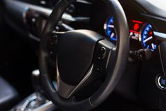 Car inside, Interior of modern car with black salon royalty free stock photography