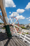 Steering Wheel of Dutch Windmill Stock Photo