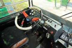 Steering wheel and empty driver's seat in trolleybus Royalty Free Stock Images
