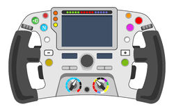Steering wheel F1. Vector illustration of steering wheel from sport car. F1 wheel concept Royalty Free Stock Image