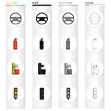 Steering wheel, fire extinguisher, gas station for the car, traffic light. Car and accessories set collection icons in. Cartoon black monochrome outline style Stock Photography