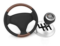 Steering wheel and gearbox Stock Photography