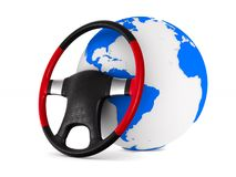 Steering wheel and globe on white background. Isolated 3D illust. Ration Stock Images