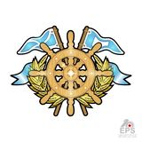 Steering wheel between golden wreath and flags on white. Sport logo for any yachting or sailing team. Or championship stock illustration