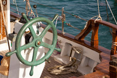 Steering Wheel of Greek Fishing Boat Royalty Free Stock Photography