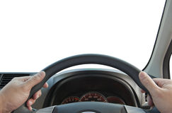 Steering wheel. Hands with steering wheel,  isolated white background Stock Photo