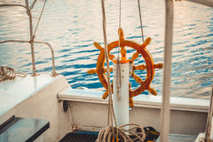 Steering wheel Handwheel ship close up Stock Photos