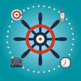 Steering wheel or helm. Flat color design. Marine symbols. Elements for web design and business Stock Image