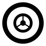 Steering wheel icon black color in circle royalty free illustration