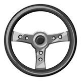 Steering wheel icon, gray monochrome style Stock Images