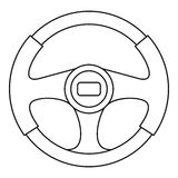 Steering wheel icon, outline style Royalty Free Stock Images