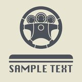 Steering wheel icon or sign. Vector illustration Stock Image