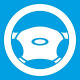 Steering, wheel icon white. Isolated on blue background vector illustration Royalty Free Stock Images