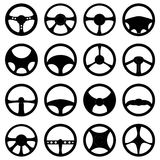 Steering wheel icons set. In black Stock Image