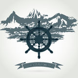 Steering wheel. Illustration steering wheel of the ship against the sea and the mountains Stock Photography