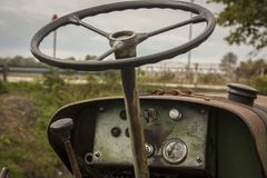 Dashboard of a vintage tractor. Stock Images