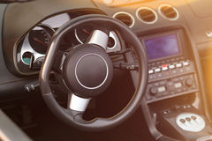 Steering wheel and interior view Stock Photo