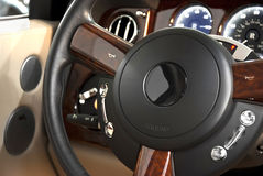 Steering wheel of a luxury car Royalty Free Stock Image