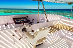 Captains bridge, yacht royalty free stock images