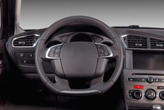 Steering wheel. In the new modern car stock image