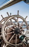 Steering wheel of an old sailing vessel Royalty Free Stock Image
