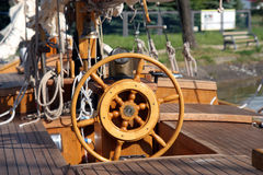 Steering wheel of old ship Royalty Free Stock Images
