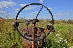 Steering wheel of an old tractor Stock Photo