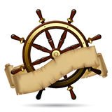 Steering wheel with a parchment Royalty Free Stock Photos