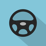 Steering wheel. Picture of a black steering wheel, flat style icon Stock Photos