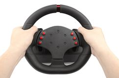 A steering wheel for racing holding hands, isolated on white. A steering wheel for racing, a controller similar to a car steering wheel, holding hands, isolated Royalty Free Stock Photography