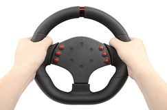 A steering wheel for racing holding hands, isolated on white. A steering wheel for racing, a controller similar to a car steering wheel, holding hands, isolated Stock Photos