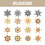Steering Wheel, Rudder Linear Vector Icons Set royalty free illustration