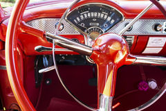 Steering Wheel of 1950s Style Car Stock Image
