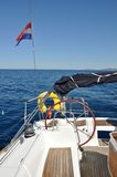 Steering wheel on sailboat Royalty Free Stock Image
