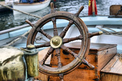 Steering wheel sailboat Royalty Free Stock Photo