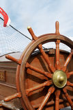 Steering wheel of a sailing ship Stock Photos