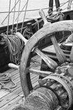 Steering wheel of a sailing vessel Royalty Free Stock Images
