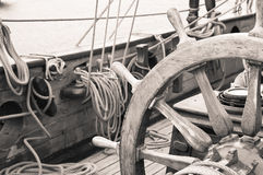 Steering wheel of a sailing vessel Stock Photography