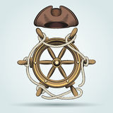 Steering Wheel and Sailor Hat Royalty Free Stock Photos