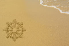 Steering wheel.Sands background.Welcome banner Stock Photo